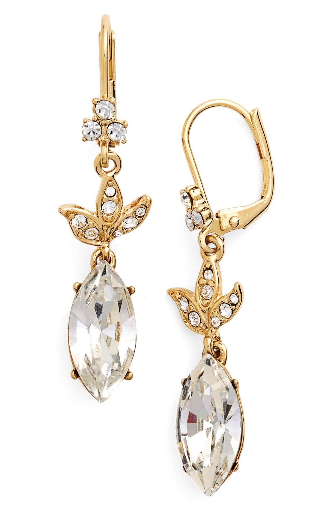 Marquise Cut Crystals Shimmer At The Tips Of Delicate Drop Earrings Accented With A Cer Leaves Love
