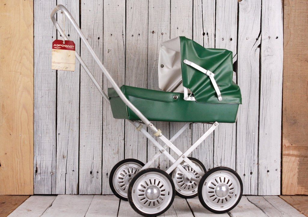 1970's Pram Toy, Doll Pram Carriage, Stroller, Metal and