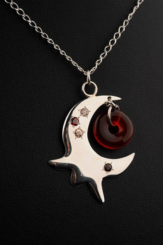 Long Silver Pomegranate Pendant with Gems in by jewelrybyvita, $107.00