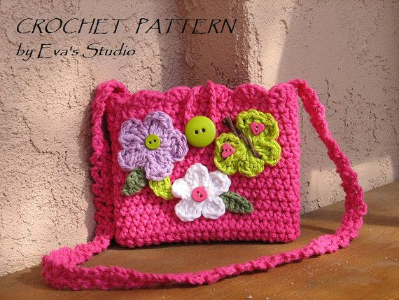 Crochet Patterngirls Bag Purse With Butterfly And Flowers