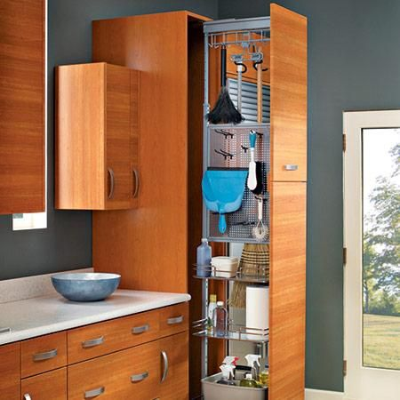 pull-out kitchen storage for cleaning tools + supplies | kitchen