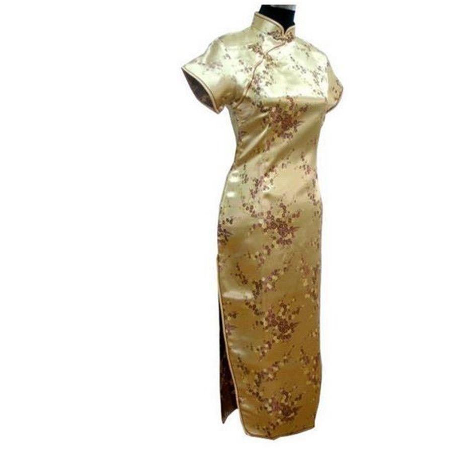 New arrival gold cheongsam chinese womenus satin qipao long dress