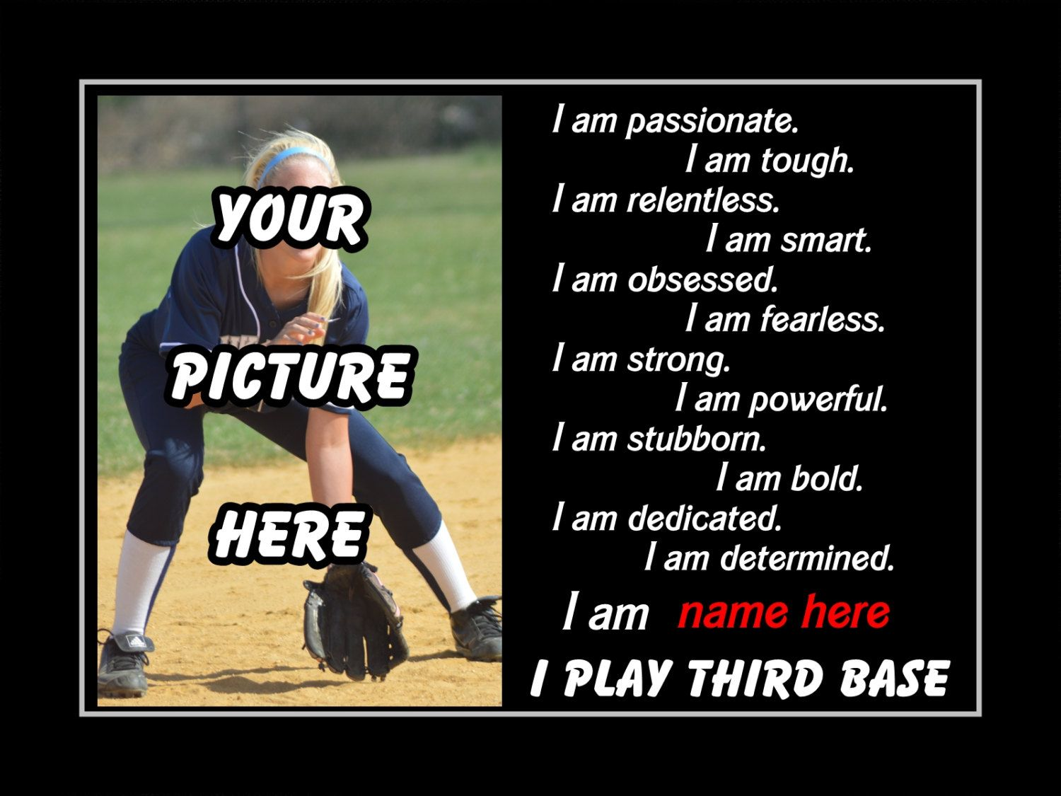 Softball friendship quotes quotesgram - Personalized Softball Custom Poster I Play Third Base Photo Quote Wall Art Print 11x14 Motivation