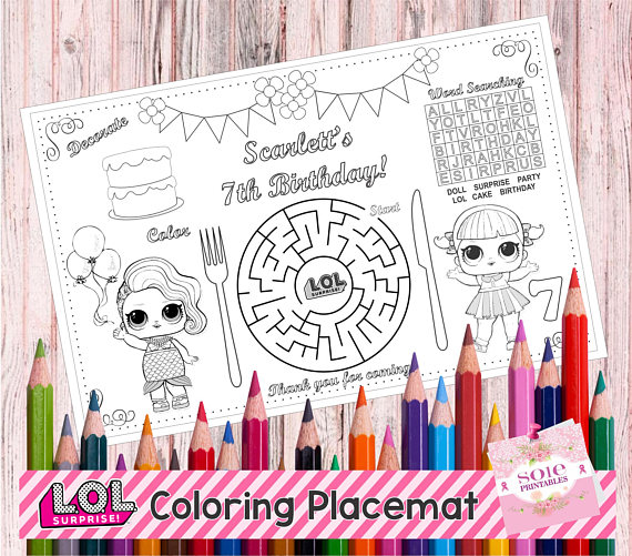 New Printable Lol Table Mat Birthday Kids Activity
