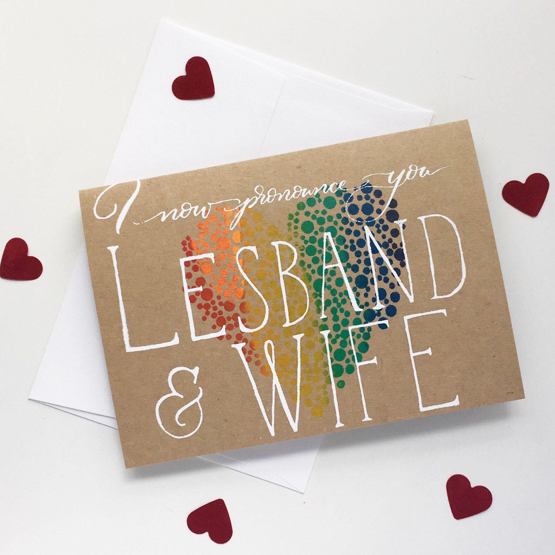 LGBT Congratulations on your wedding card Mrs /& Mrs card gay lesbian wedding