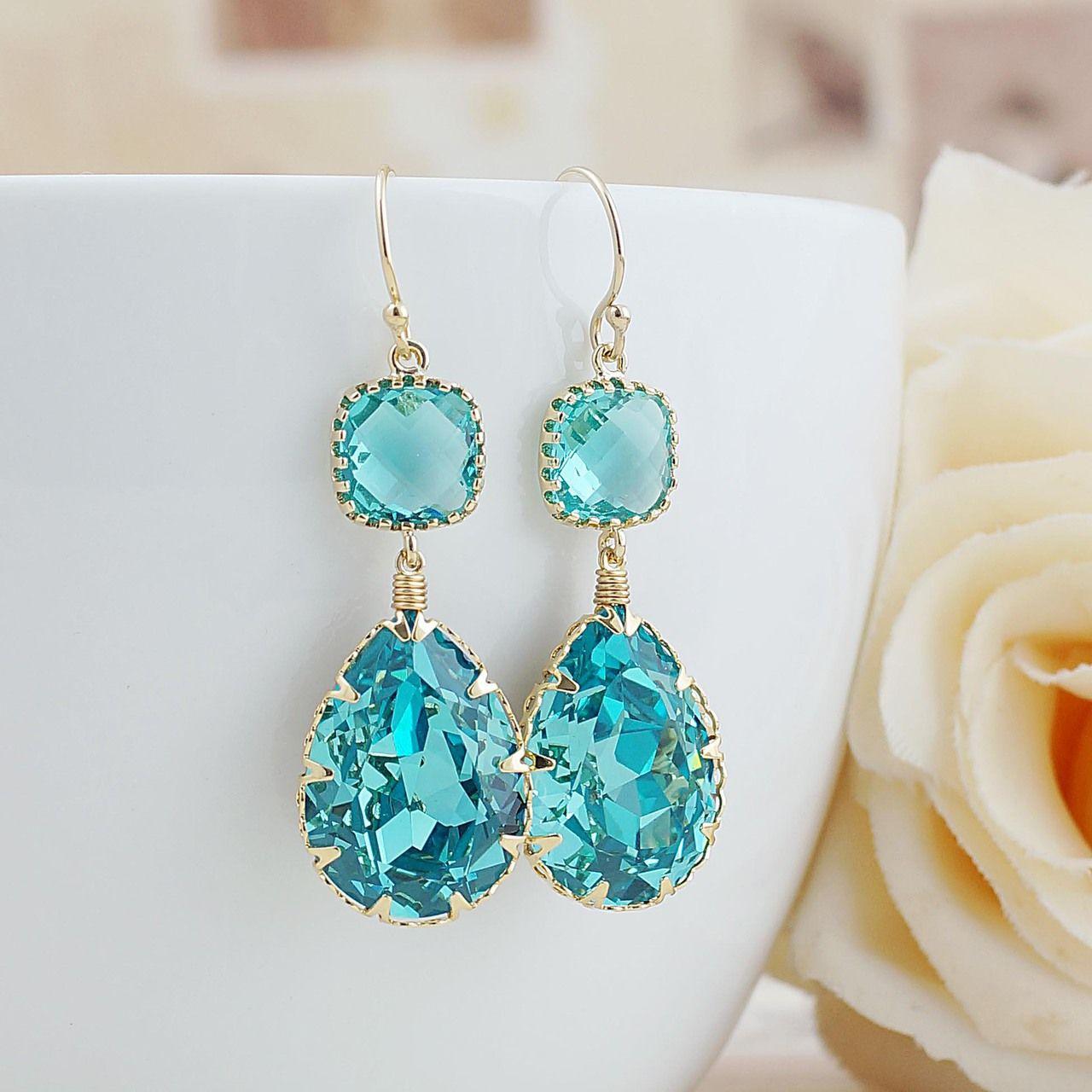 Light turquoise swarovski crystal earrings by