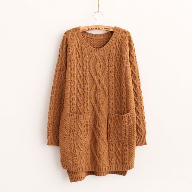 28f48ec53f0 Price  32.99 Color  Khaki Material  Woolen Blends Retro Simple Solid Color  High-low Diamond Check Knit Sweater Dress