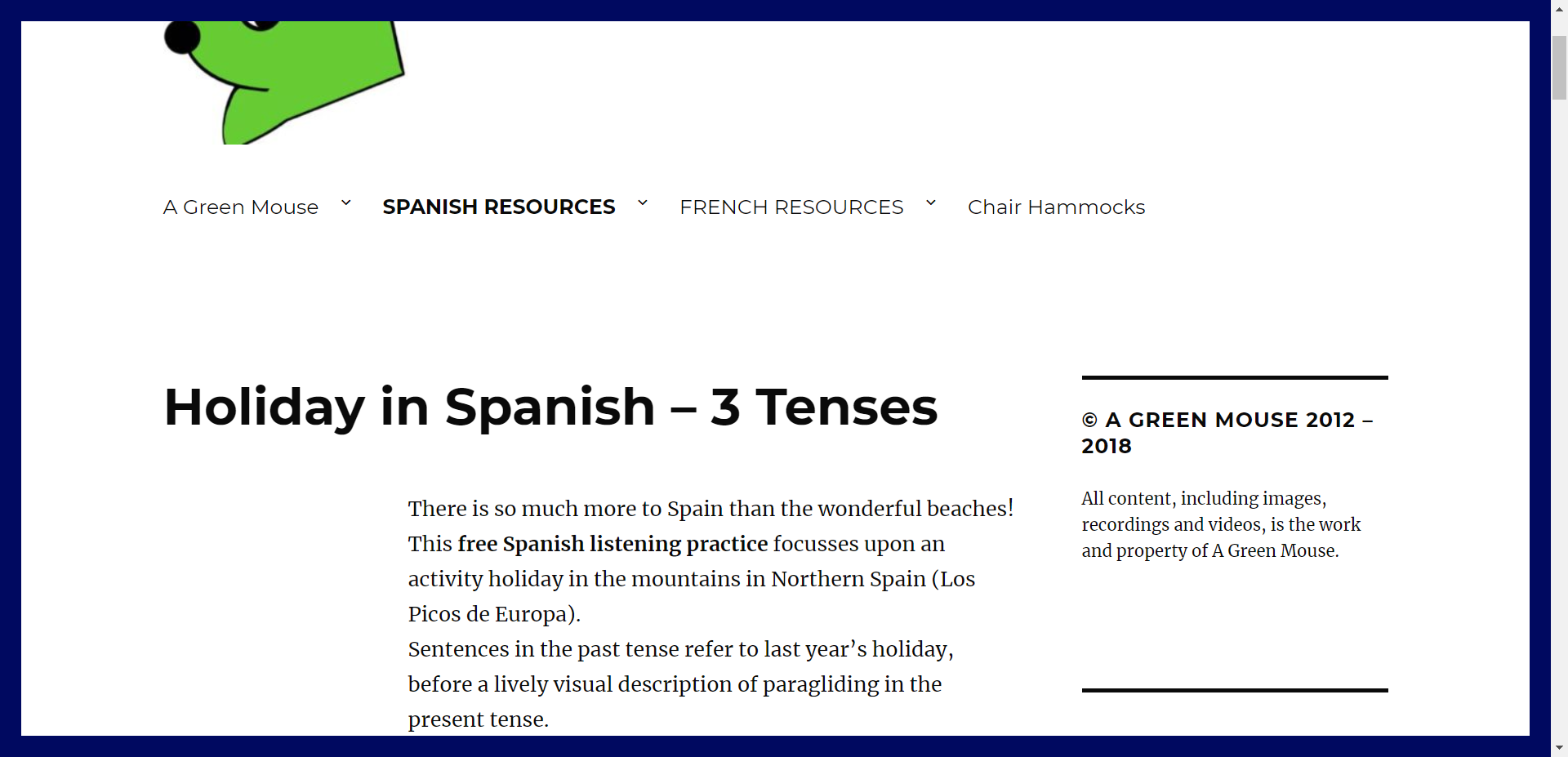Holiday In Spanish 3 Tenses