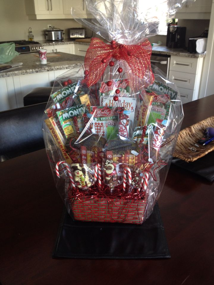 Christmas lottery ticket gift basket holiday pinterest for Christmas gift basket ideas for families