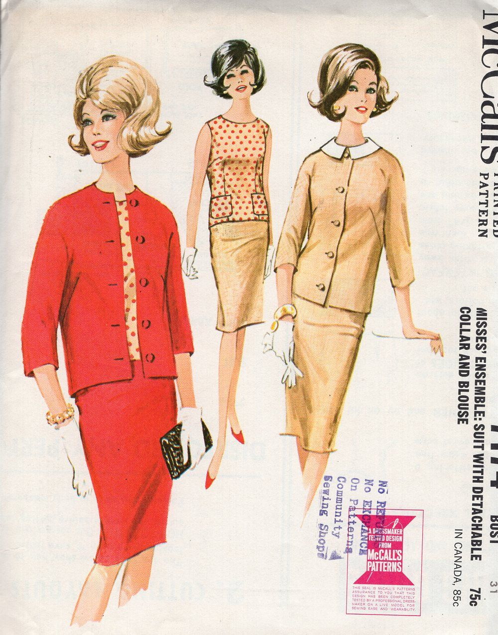ea027fa375 McCall's 7174 Free Us Ship Sewing Pattern Vintage Retro 1960s 60s Uncut  Jackie Suit Jacket Pencil Skirt Blouse Pockets Size 10 Bust 31 by  LanetzLiving on ...