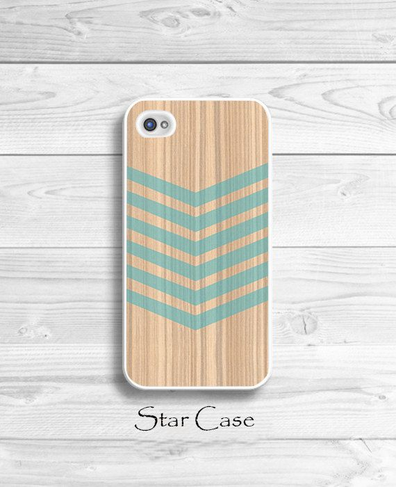 iPhone 4/ 4s and 5 Case - Wood Geometric Aqua Blue - Cell Phone Cover - iPhone Hard Case with Name -  Light Neutral