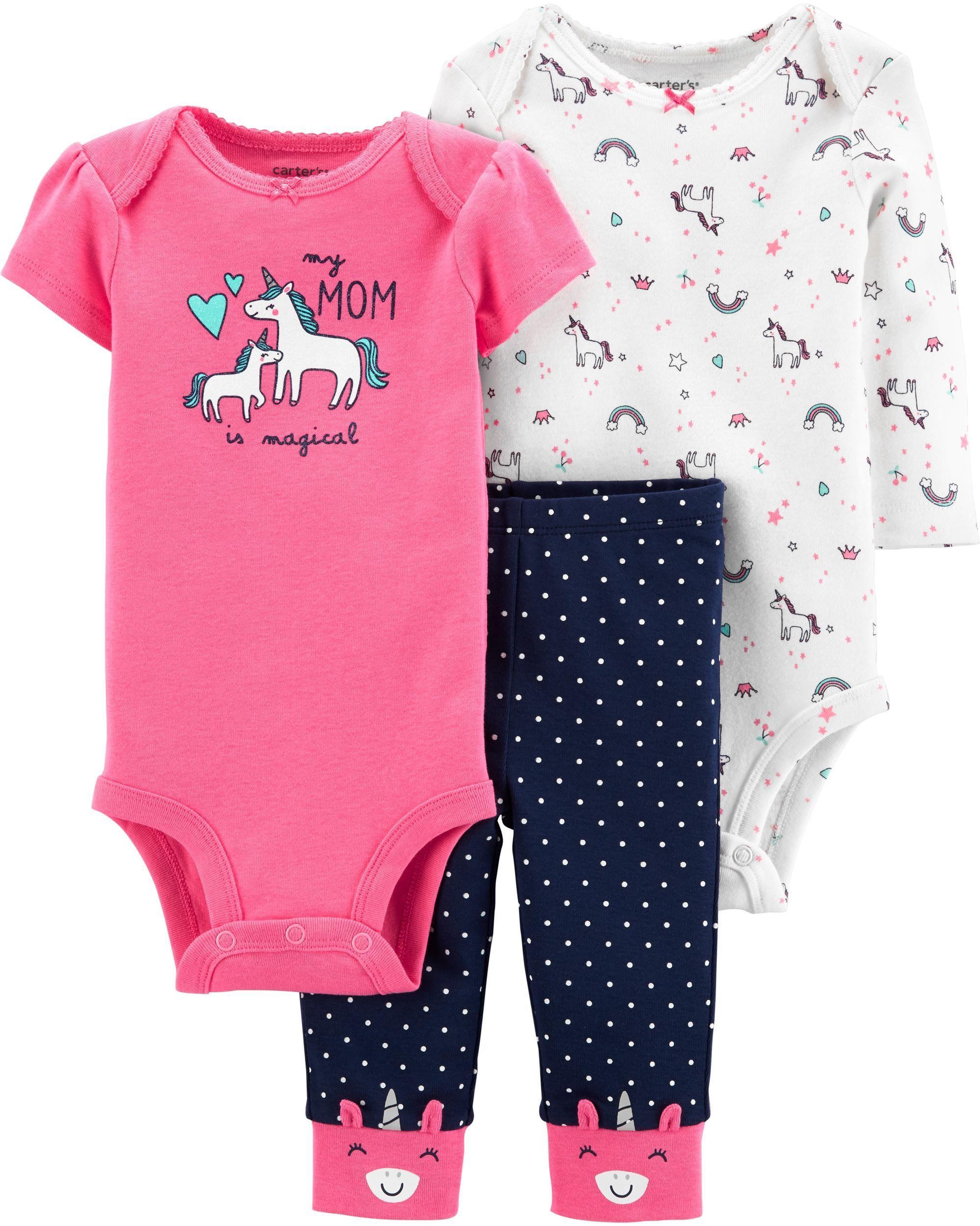 Carters Baby Girl 3-Piece Unicorn Poly Pajamas 18 Months