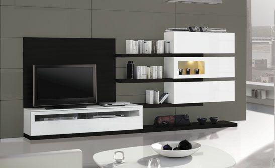 Mueble de sal n de composici n modular acabado en blanco for Mueble modular salon