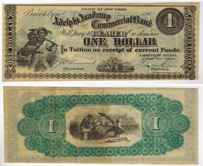 Adelphi Academy Commercial Bank $1 Note : Lot 179