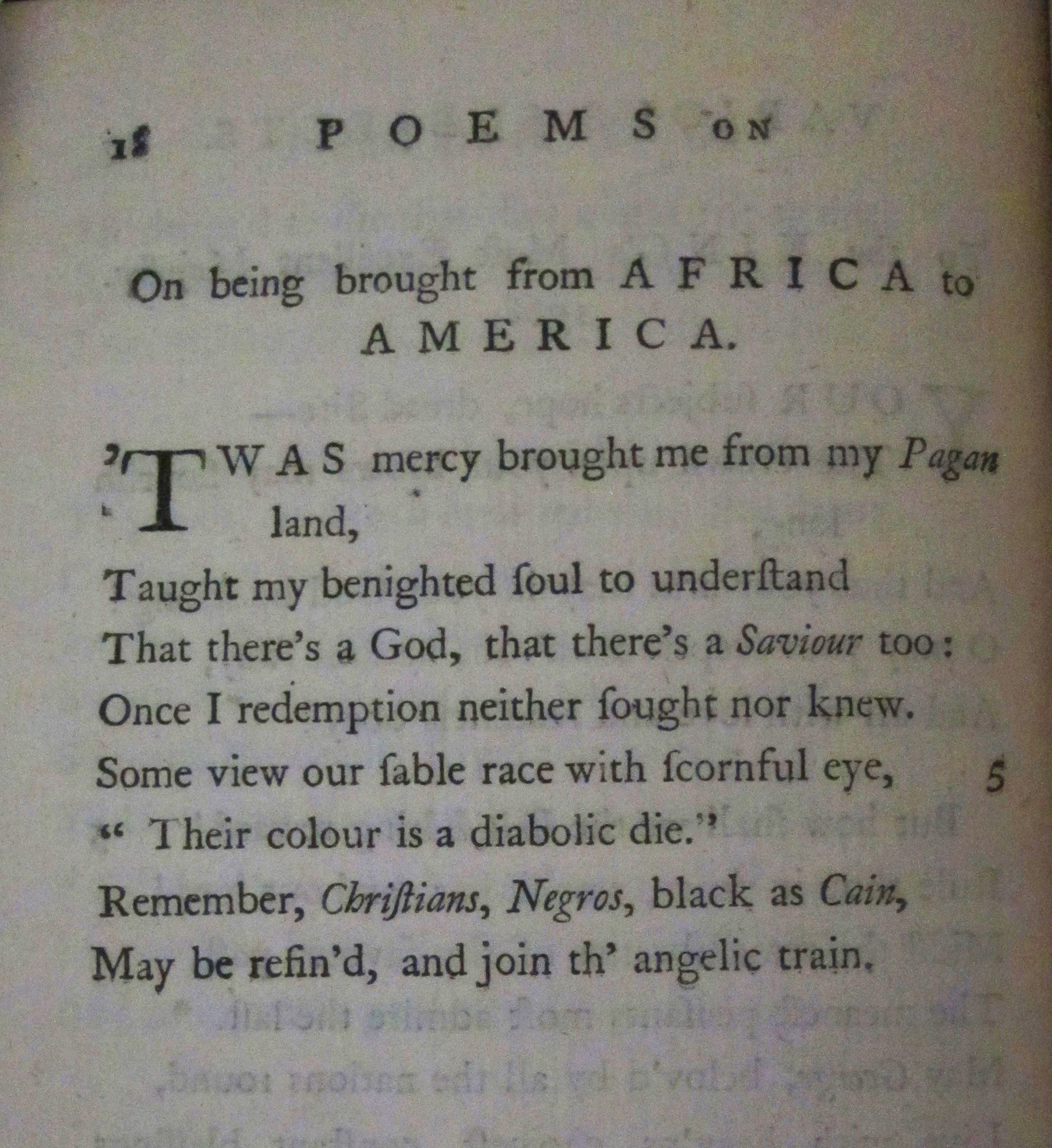 phillis wheatley s on being brought from africa to america phillis wheatley s on being brought from africa to america