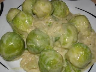 Photo of Brussels sprouts in cream cheese mustard sauce