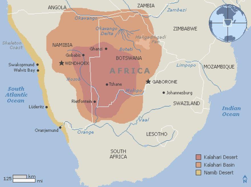 Sub Saharan Africa Map Kalahari Desert.Map Of The Kalahari Africa Map Deserts Of The World