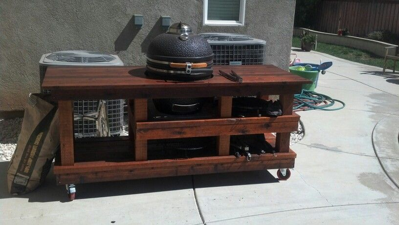 Custom Cedar BBQ Cart Made For My New Vision Grill Smoker!