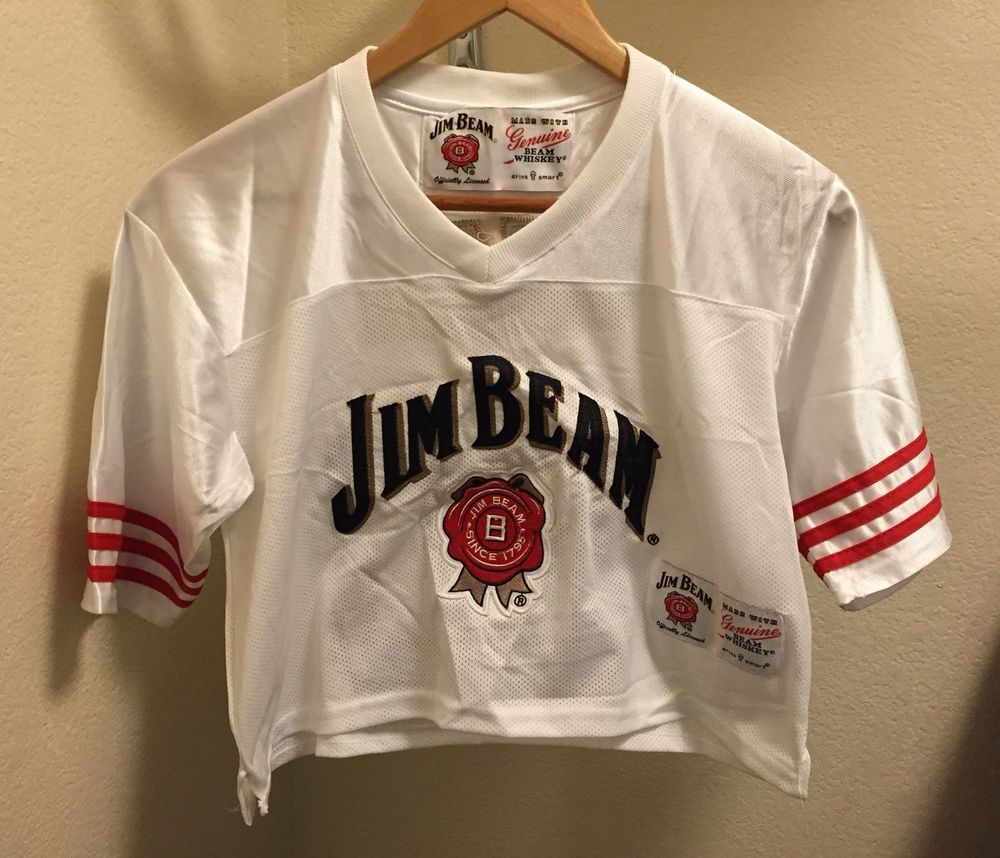 ☀NEW☀JIM BEAM Officially Licensed White 1/2 TOP JERSEY