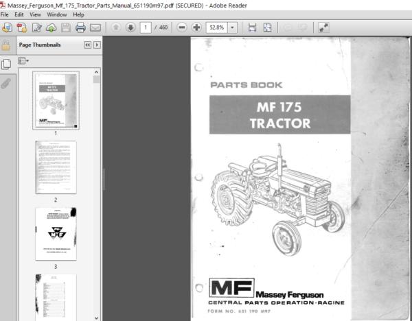 Massey Ferguson Mf 175 Tractor Parts Manual Tractors Massey Ferguson Tractor Parts