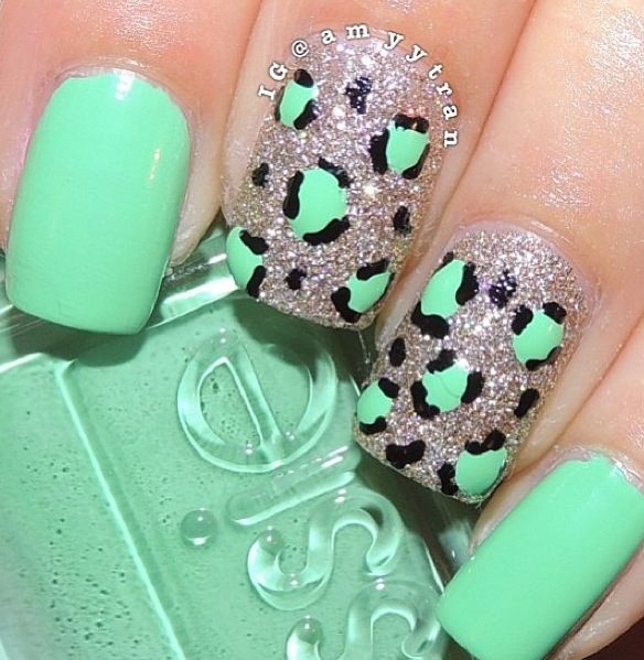 Cool cheetah/glitter/teal nail design! Like it, and re-pin it ...