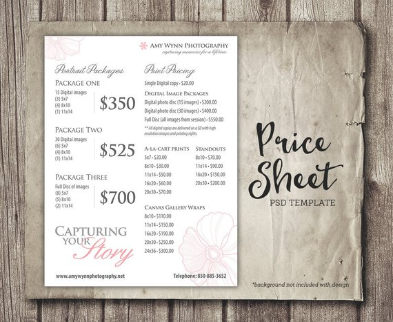 Photography Price Sheet Package Pricing - Photographer Price List - Price Sheet Template