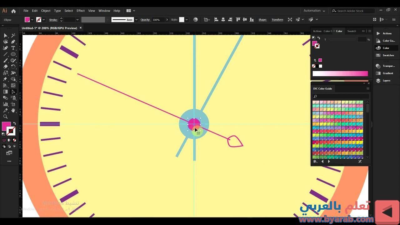 رسم ساعة حائط برنامج الاليستريتور 5 Map Map Screenshot