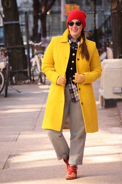 red studded Zara boots - yellow wool blend J Crew coat