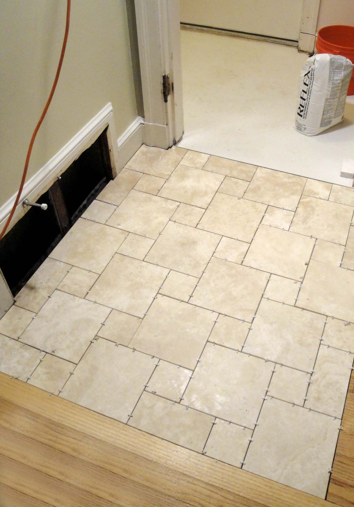 Enjoyable Travertine White Porcelain Bathroom Floor Tile Ideas As ...