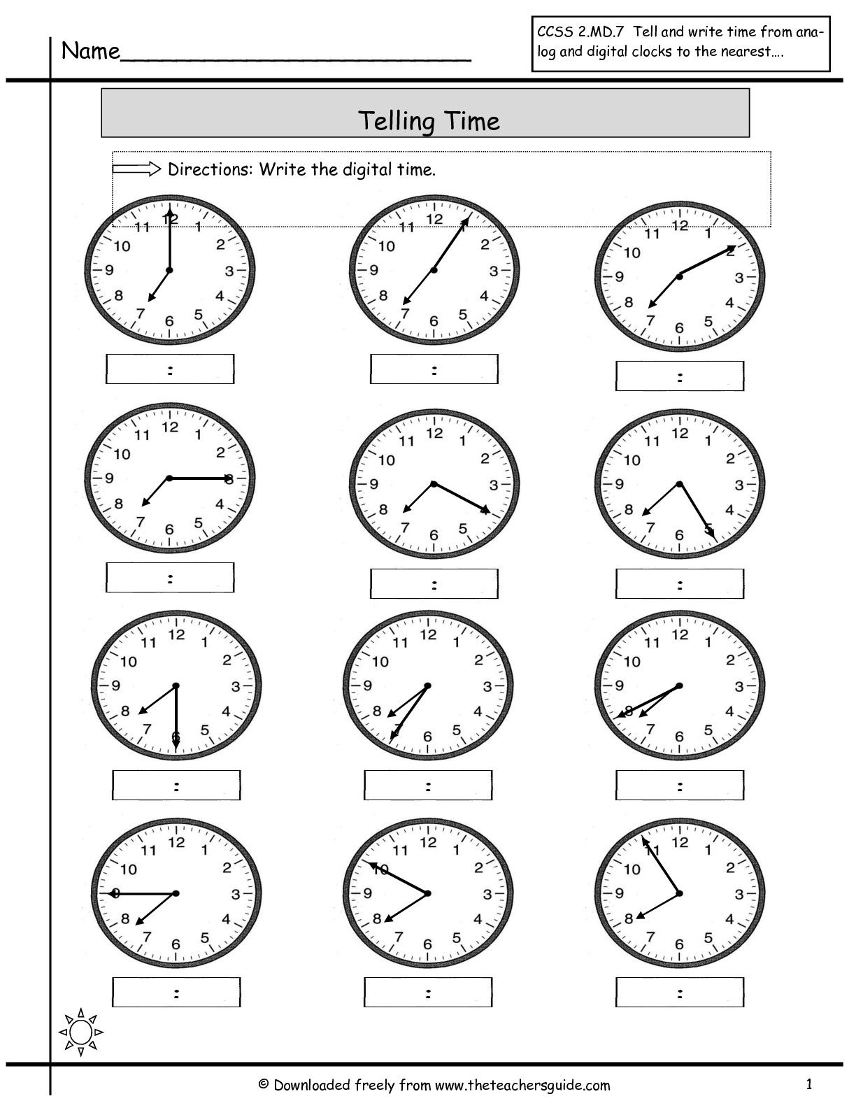Telling Time Worksheets from The Teacher's Guide   Time worksheets [ 1584 x 1224 Pixel ]
