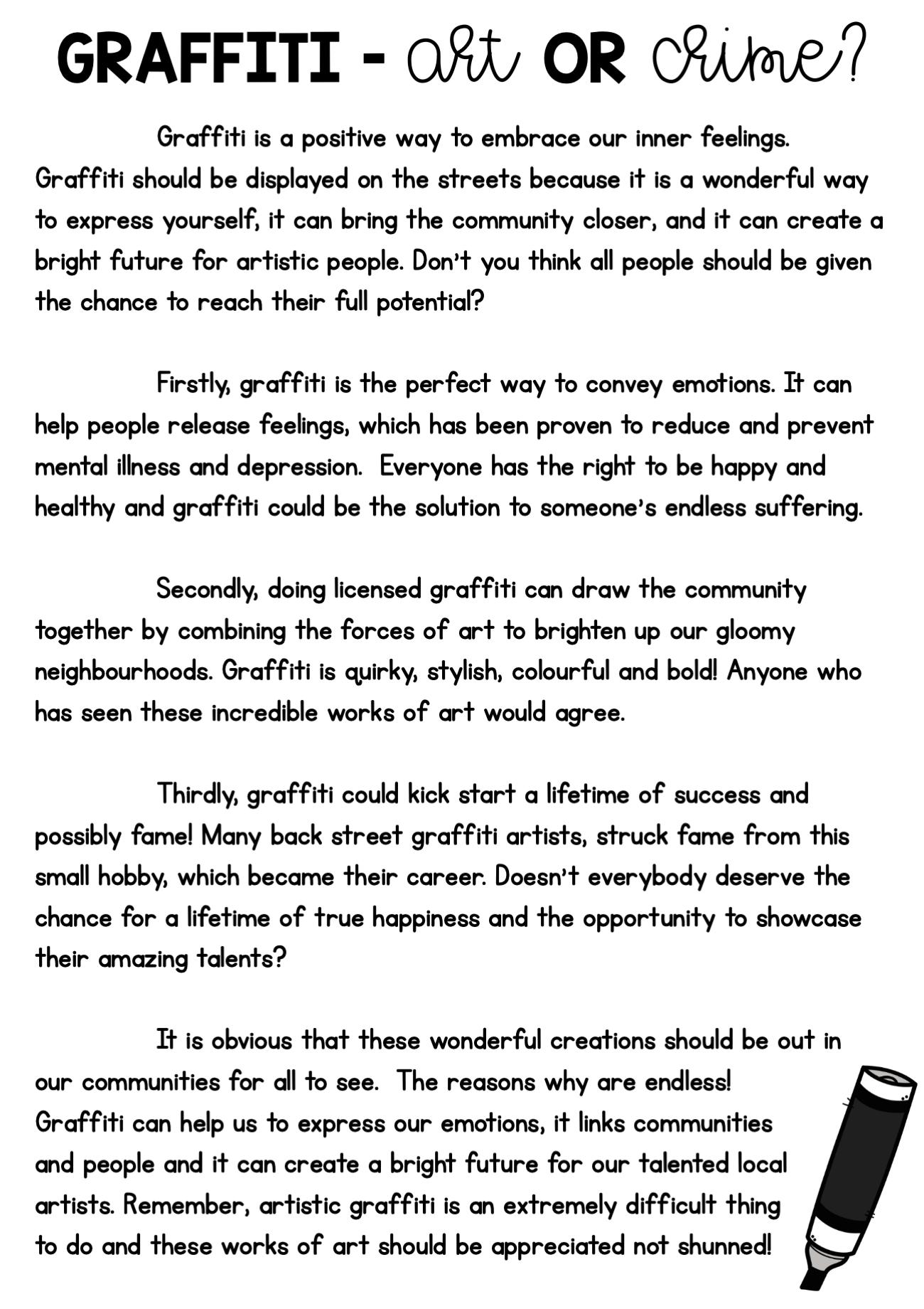 - Persuasive Writing Comprehension - Graffiti, Art Or Crime? In 2020