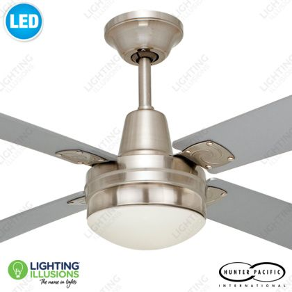 Brushed chrome typhoon timber 52 ceiling fan with 12w led light brushed chrome typhoon timber 52 ceiling fan with 12w led light shop lighting mozeypictures Gallery