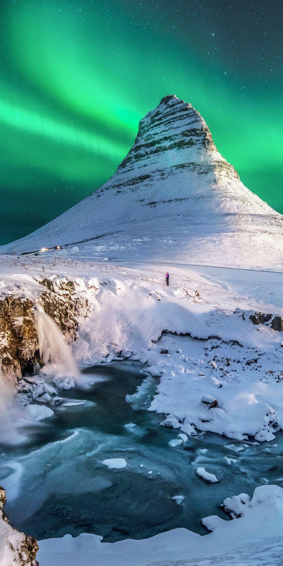 Auroras at Kirkjufell, Iceland