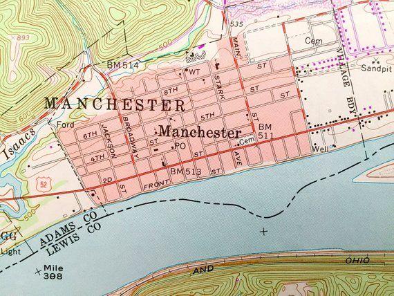 Manchester Ohio Map.Antique Manchester Islands Kentucky Monroe Ohio 1961 Us