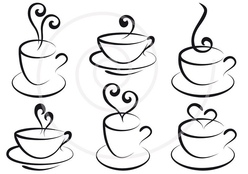 Coffee And Tea Cups With Hearts Digital Clip Art Clipart Set Logo