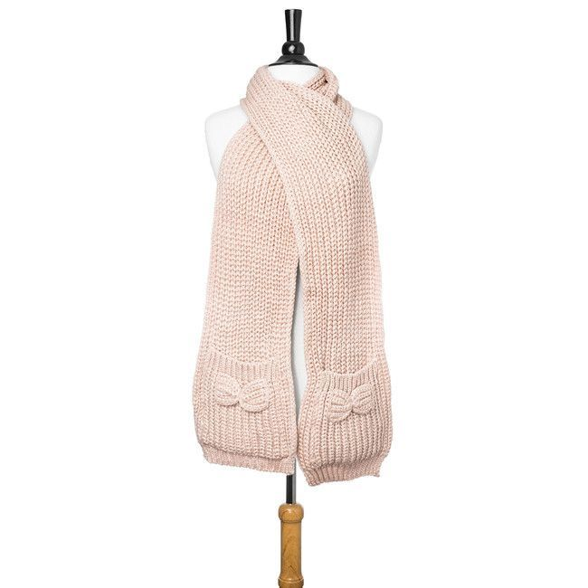 Light Pink Knit Scarf With Pockets And Bow Details 100% Acrylic Dry Clean Only. Measurements: 72 x 8
