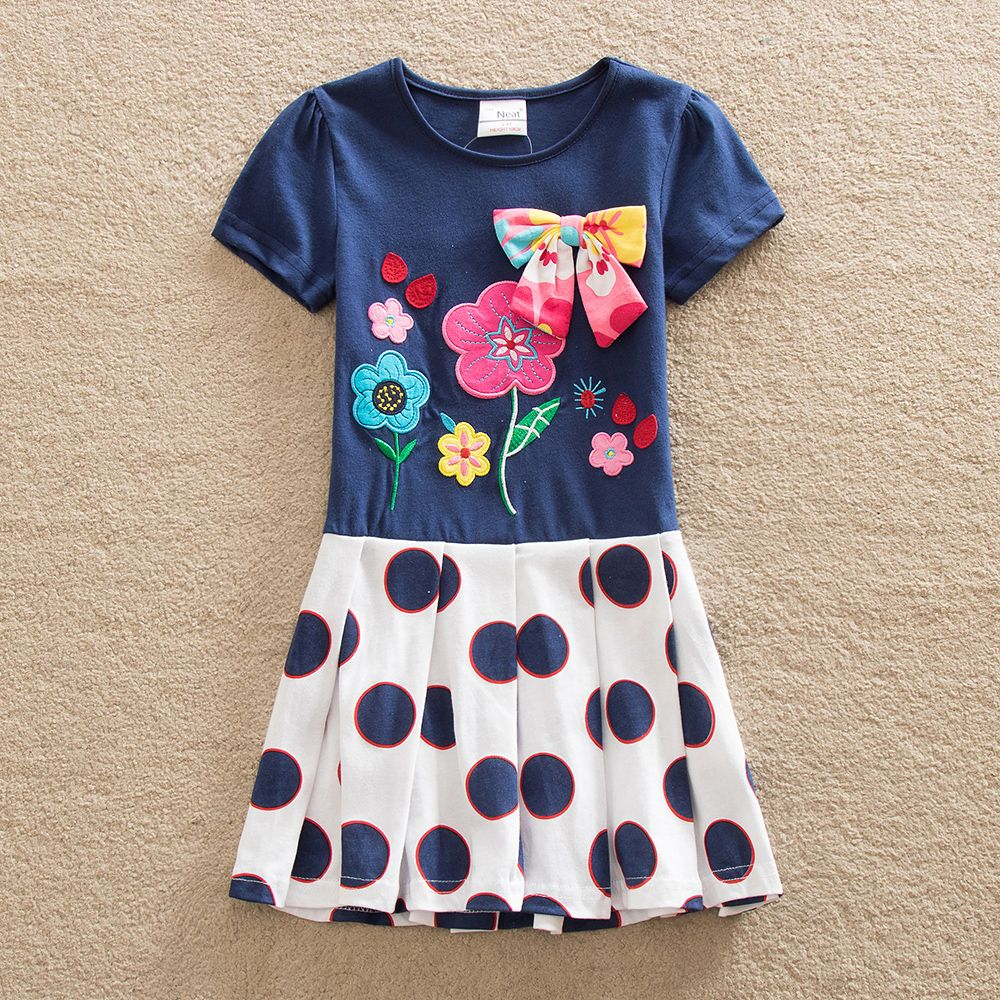 retail baby girl clothes short sleeve girls dress bow kids