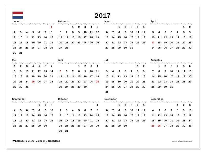 gratis kalender voor 2017 af te drukken nederland gratis printbare kalenders pinterest. Black Bedroom Furniture Sets. Home Design Ideas