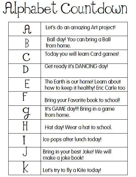 End Of School Worksheets : Alphabet countdown last days of school