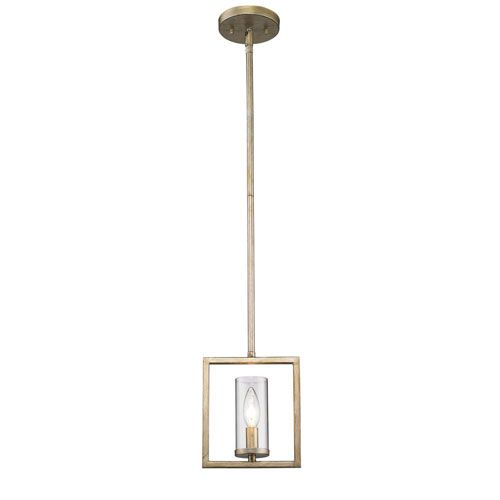 golden lighting marco white gold onelight mini pendant with clear glass shade