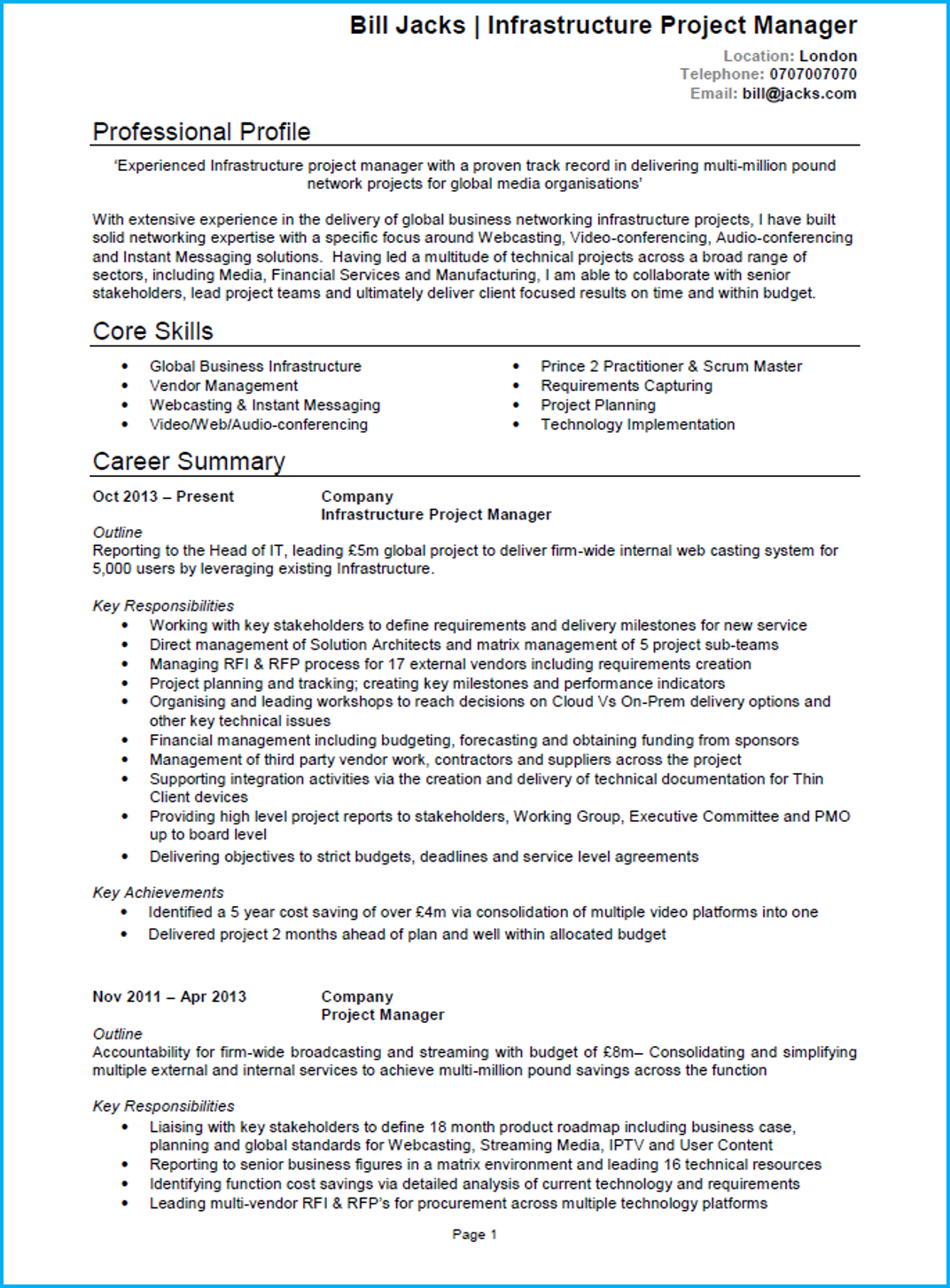 2 Page Cv Template Uk Project manager resume, Project