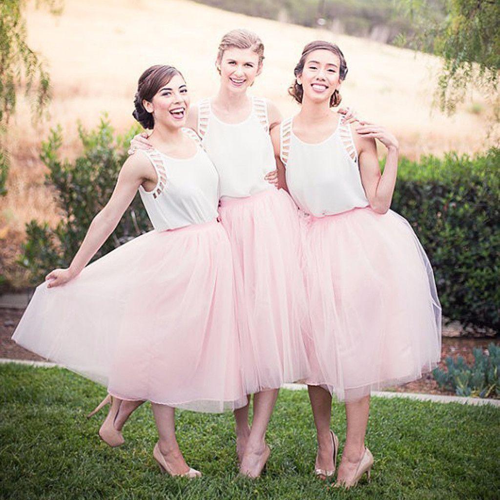 Pretty Junior White Pink Unique Tea Length Wedding