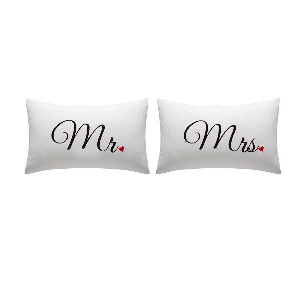 Amazon Wendana Couple Pillowcase Mr And Mrs Pillowcases With