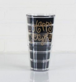 24oz HAPPY EVERYTHING BLACK STRIPE TERVIS TUMBLER WITH WHITE LID