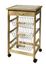 Rolling Kitchen Cart Fruit Vegetable Storage Produce Baskets Drawer Tile Top Kitchen Utility Cart Rolling Kitchen Cart Kitchen Storage Cart