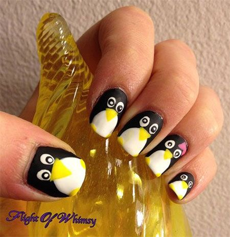 easy  cute penguin nail art designs  ideas 2013/ 2014
