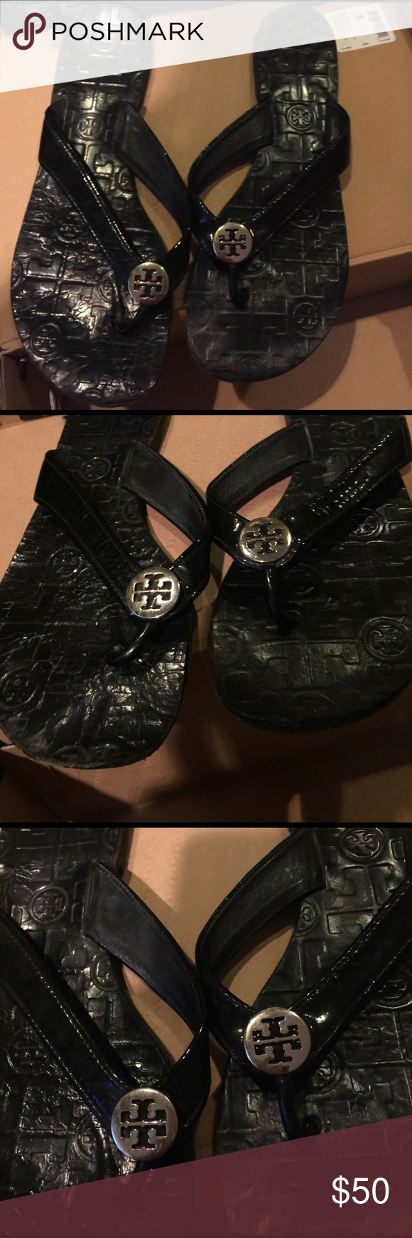f1a0dba9ed640 Tory Burch Monogram flip flops Women s 8. Good worn condition. Light signs  of wear. True to size. Authentic. Tory Burch Shoes Sandals