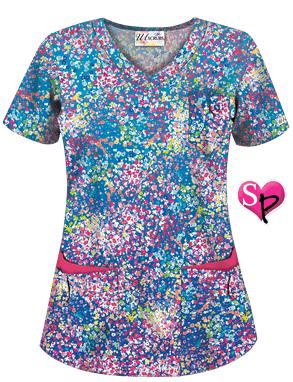 UA Spring Ditzy Royal Print Scrub Top Style # UA638SDZ #uniformadvantage…