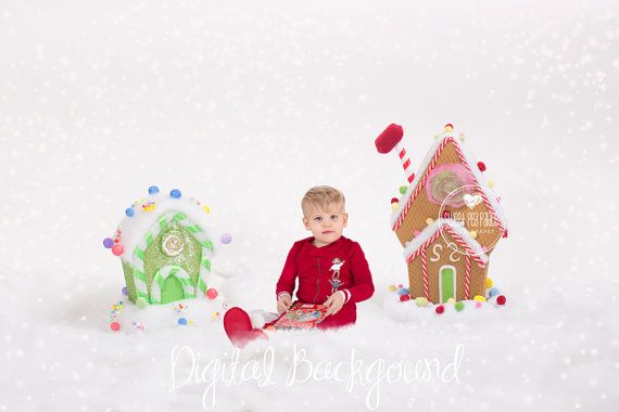 Instant Download Photography Prop DIGITAL BACKDROP for Photographers - Christmas Holiday GINGERBREAD Houses Digital Background