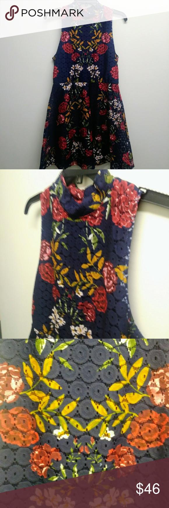 M boutique lace dress  Francescaus Brand Alya Navy Crochet Spring Dress M Boutique